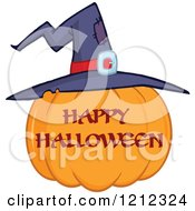 Cartoon Of A Happy Halloween Greeting Pumpkin With A Witch Hat Royalty Free Vector Clipart