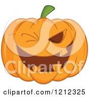 Cartoon Of A Winking Halloween Jackolantern Pumpkin Royalty Free Vector Clipart
