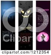Clipart Of Vertical Cemetery Jackolantern Face And Witch Cat Halloween Party Banners With Sample Text Royalty Free Vector Illustration