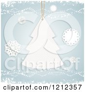Christmas Tree Gift Tag And Paper Snowflakes On Blue