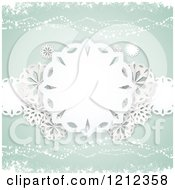 Paper Snowflakes And Waves Over Pastel Green