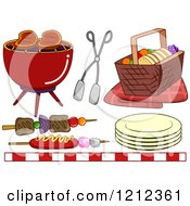 Cartoon Of A Bbq Grill And Picnic Items Royalty Free Vector Clipart