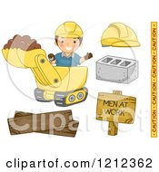 Cartoon Of A Happy Construction Worker With A Backhoe And Items Royalty Free Vector Clipart by BNP Design Studio