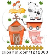 Cartoon Of A Barn Chicken Cow Pig And Wagon Royalty Free Vector Clipart by BNP Design Studio