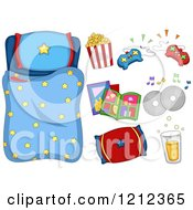Cartoon Of A Boys Starry Sleeping Bag And Sleep Over Items Royalty Free Vector Clipart by BNP Design Studio