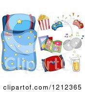 Cartoon Of A Boys Starry Sleeping Bag And Sleep Over Items Royalty Free Vector Clipart