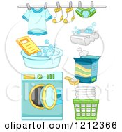 Cartoon Of Green And Blue Boy Laundry Items Royalty Free Vector Clipart by BNP Design Studio