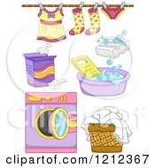 Cartoon Of Girl Laundry Items Royalty Free Vector Clipart by BNP Design Studio