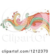 Cartoon Of An Abstract Wave And Splash On White Royalty Free Vector Clipart
