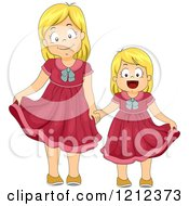 Cartoon Of Blond Sisters Wearing The Same Dress Royalty Free Vector Clipart