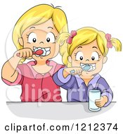 Cartoon Of Blond Sisters Brushing Their Teeth Together Royalty Free Vector Clipart