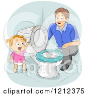 Father Kneeling And Teaching His Toddler Daughter How To Flush The Toilet