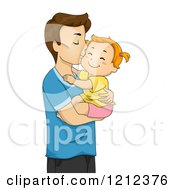 Cartoon Of A Father Holding His Toddler Daughter And Kissing Her On The Cheek Royalty Free Vector Clipart