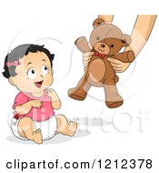 Cartoon Of A Happy Blond Toddler Girl Receiving A Teddy Bear Royalty Free Vector Clipart