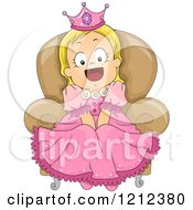 Cartoon Of A Happy Blond Toddler Girl In A Princess Costume Royalty Free Vector Clipart