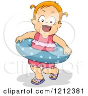Cartoon Of A Happy Blond Toddler Girl With An Inner Tube Royalty Free Vector Clipart