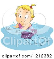 Cartoon Of A Happy Blond Toddler Girl Swimming Royalty Free Vector Clipart by BNP Design Studio