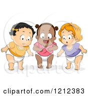 Cartoon Of Diverse Baby Girls Looking Down With Awe Royalty Free Vector Clipart
