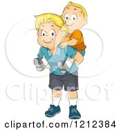Cartoon Of A Big Brother Giving His Baby Brother A Piggy Back Ride Royalty Free Vector Clipart