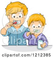 Cartoon Of Brothers Brushing Their Teeth Together Royalty Free Vector Clipart