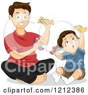 Cartoon Of A Father And Son Playing With Toy Planes Royalty Free Vector Clipart