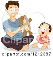 Cartoon Of A Father And His Happy Son Playing With A Teddy Bear Royalty Free Vector Clipart
