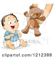 Cartoon Of A Happy Toddler Boy Receiving A Teddy Bear Royalty Free Vector Clipart