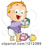 Cartoon Of A Happy Toddler Boy Looking Back And Playing With Blocks And A Rattle Royalty Free Vector Clipart