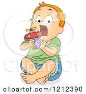 Cartoon Of A Toddler Boy Putting A Toy Airplane In His Mouth Royalty Free Vector Clipart