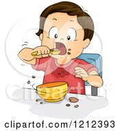 Cartoon Of A Messy Toddler Boy Eating From A Bowl Royalty Free Vector Clipart