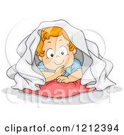 Cartoon Of A Toddler Boy Hiding Under A Blanket Royalty Free Vector Clipart