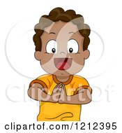Cartoon Of A Happy Black Toddler Boy Holding His Hands Together Royalty Free Vector Clipart