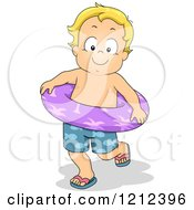 Cartoon Of A Blond Toddler Boy In Swim Trunks And An Inner Tube Royalty Free Vector Clipart