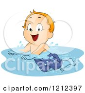 Cartoon Of A Happy Red Haired Toddler Boy Swimming Royalty Free Vector Clipart by BNP Design Studio