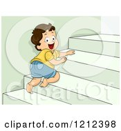 Cartoon Of A Happy Toddler Boy Crawling Up Stairs Royalty Free Vector Clipart