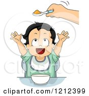 Cartoon Of A Hand Holding Baby Food In A Spoon Over A Toddler Boy Royalty Free Vector Clipart