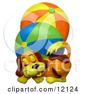 Clay Sculpture Of A Cute Puppy Dog Sleeping Next To Two Large Brightly Colored Beach Balls Clipart Picture