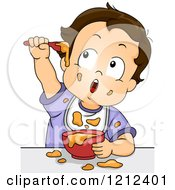 Cartoon Of A Baby Boy Making A Mess With His Food Royalty Free Vector Clipart