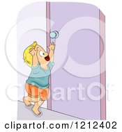 Cartoon Of A Blond Toddler Boy Reaching For A Door Knob Royalty Free Vector Clipart