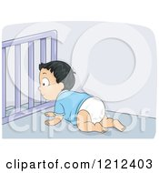 Cartoon Of A Crawling Boy At A Baby Gate At The Top Of Stairs Royalty Free Vector Clipart