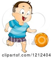 Cartoon Of A Happy Toddler Boy Dribbling A Basketball Royalty Free Vector Clipart