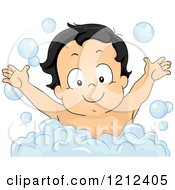 Cartoon Of A Happy Toddler Boy In A Bubble Bath Royalty Free Vector Clipart