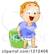 Cartoon Of A Boy Standing By A Potty Training Device Royalty Free Vector Clipart by BNP Design Studio