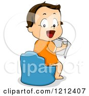 Cartoon Of A Happy Toddler Boy Using A Potty Traier And Holding Toilet Paper Royalty Free Vector Clipart by BNP Design Studio