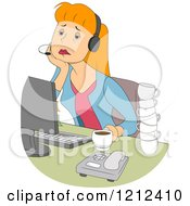 Cartoon Of A Tired Female Customer Service Call Center Representative Royalty Free Vector Clipart