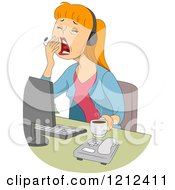 Cartoon Of A Yawning Female Customer Service Call Center Representative Royalty Free Vector Clipart