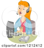 Cartoon Of A Pleasant Female Customer Service Call Center Representative Royalty Free Vector Clipart