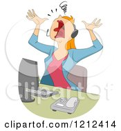 Cartoon Of A Stressed Female Customer Service Call Center Representative Royalty Free Vector Clipart