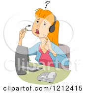 Cartoon Of A Confused Female Customer Service Call Center Representative Royalty Free Vector Clipart