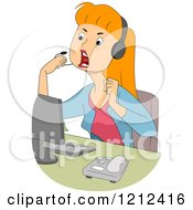 Cartoon Of A Mad Female Customer Service Call Center Representative Royalty Free Vector Clipart